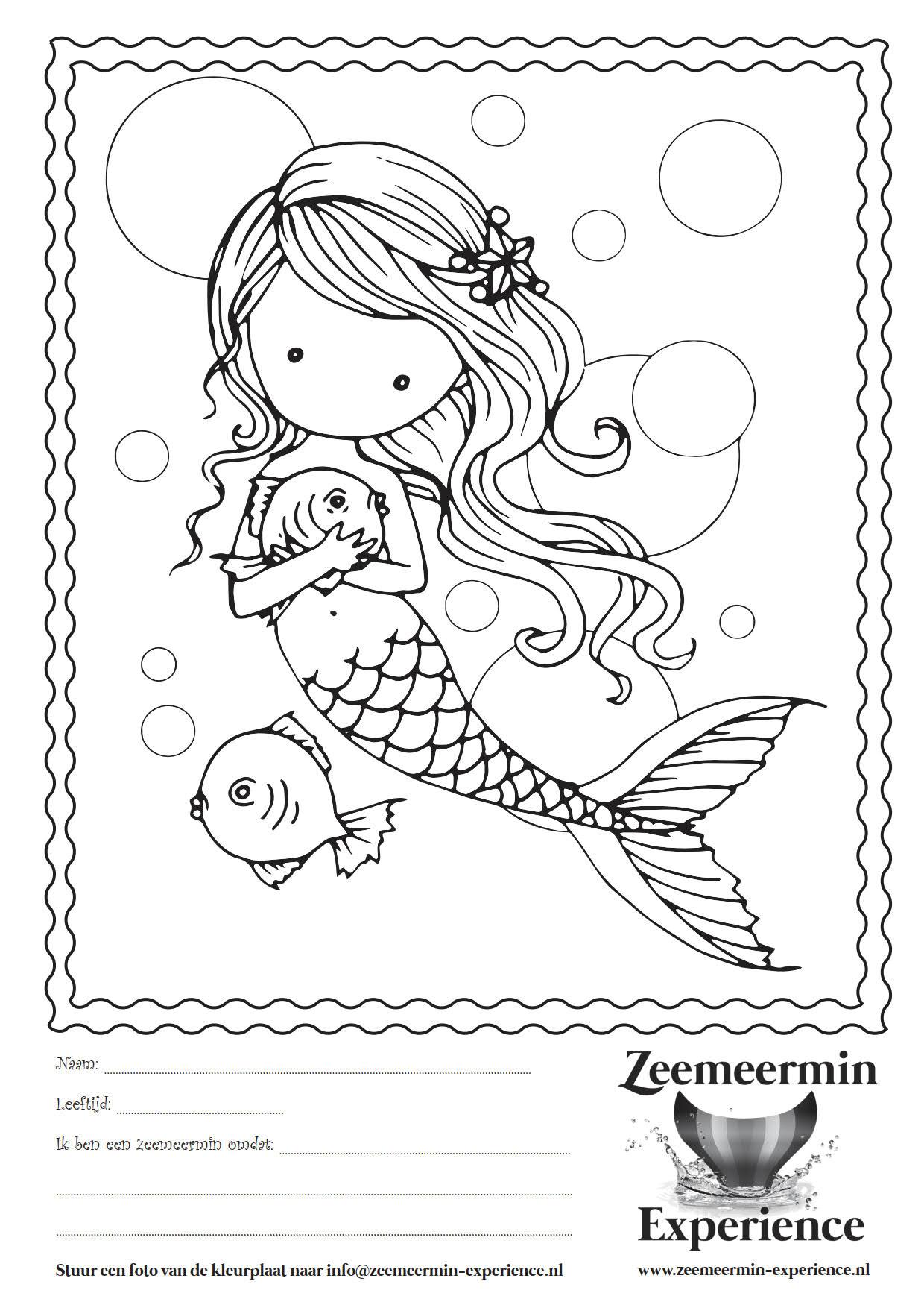Kleurplaat Zeemeermin