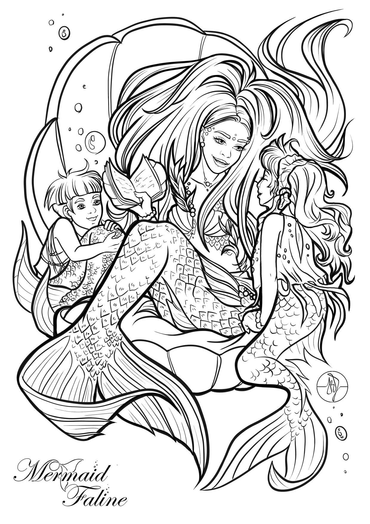 Kleurplaat mermaid Faline